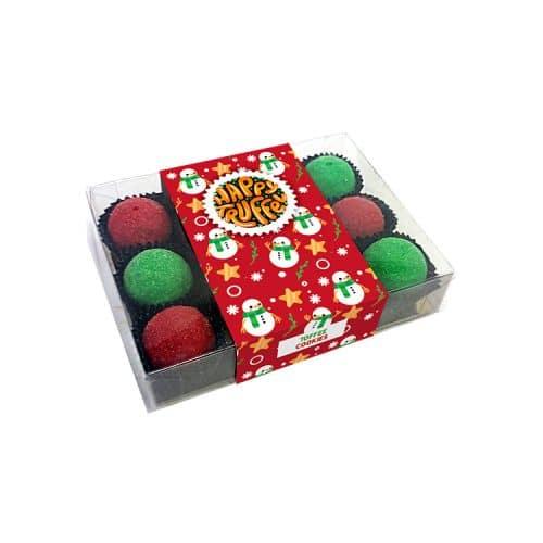 Chocoladetruffels 12 stuks kerst - Sneeuwpop editie