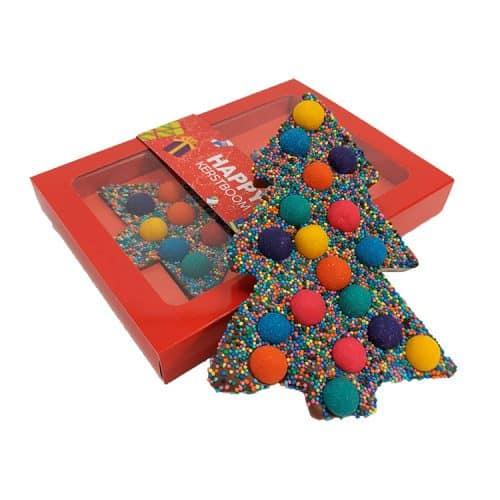 Kerst chocolade met chocoladetruffels - Kerstboom met rode doos