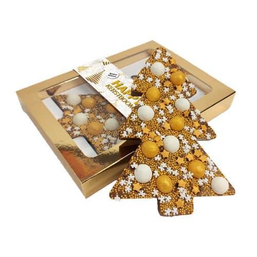 Chocoladereep met chocoladetruffels - Kerstboom Goud